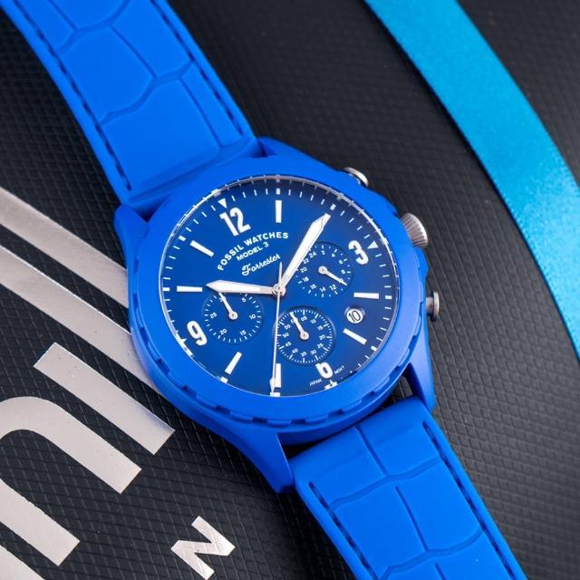 【FOSSIL】公司貨 Forrester 炫藍時尚三眼計時矽膠腕錶/藍x銀針 男錶(LE1098)