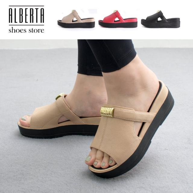 【Alberta】前2.5後5.5cm拖鞋 休閒百搭金屬飾釦 皮革楔型厚底圓頭涼拖鞋