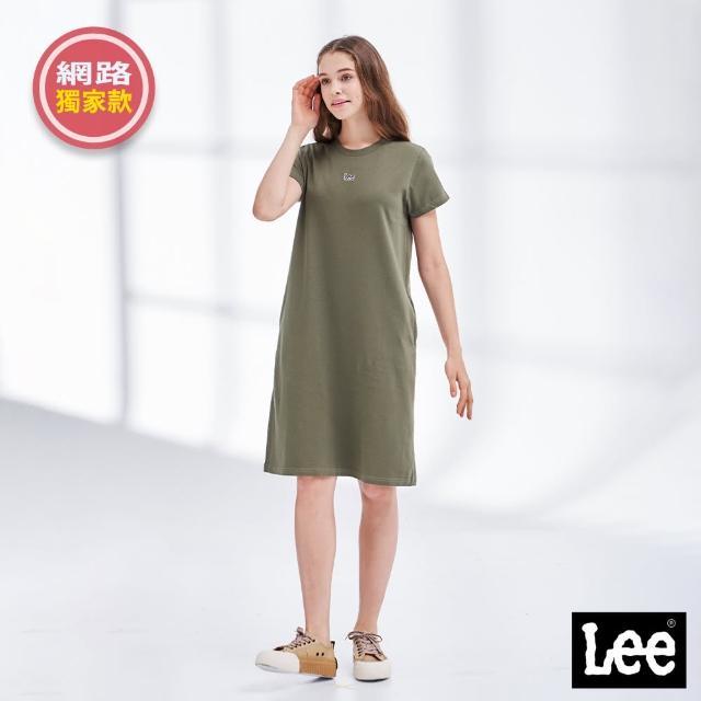 【Lee】經典刺繡小LOGO 側邊口袋 女短袖休閒洋裝-橄欖綠