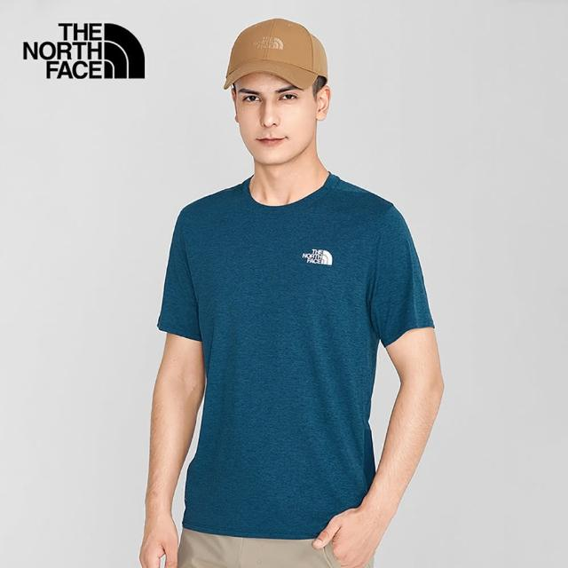 【The North Face】The North Face北面男款藍色吸濕排汗圓領短袖T恤 536QQ4V