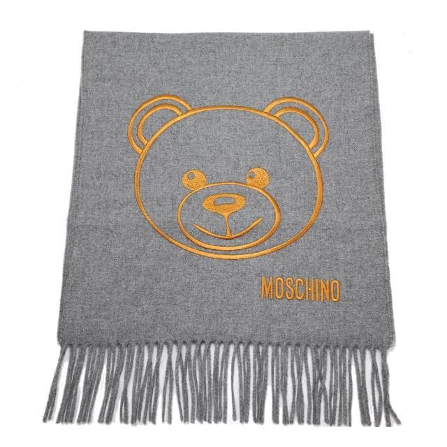 【MOSCHINO】泰迪熊臉純羊毛寬版流蘇圍巾(014 灰色)