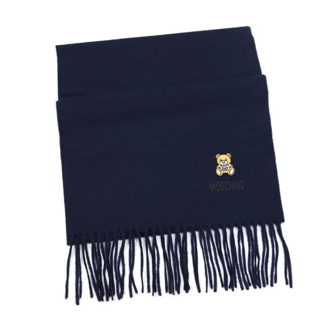 【MOSCHINO】刺繡泰迪熊純羊毛流蘇圍巾(013 海軍藍)