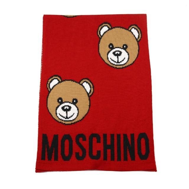 【MOSCHINO】經典泰迪熊滿版混紡羊毛圍巾(007 紅色)