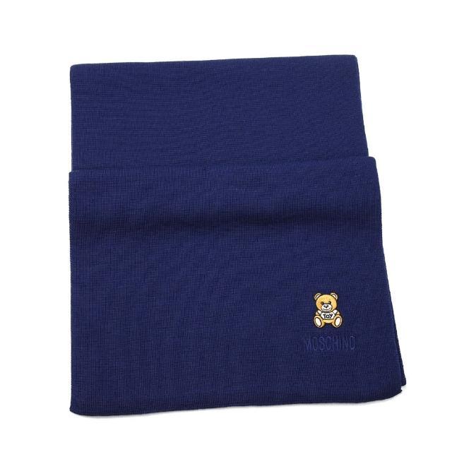 【MOSCHINO】刺繡泰迪熊純羊毛圍巾(013 海軍藍)
