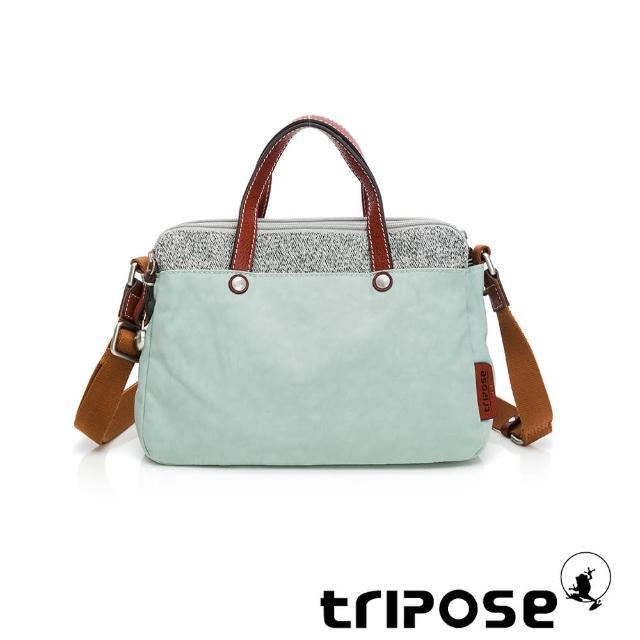 【tripose】漫遊系列岩紋雙拉鍊手提斜背包(蔚水藍)