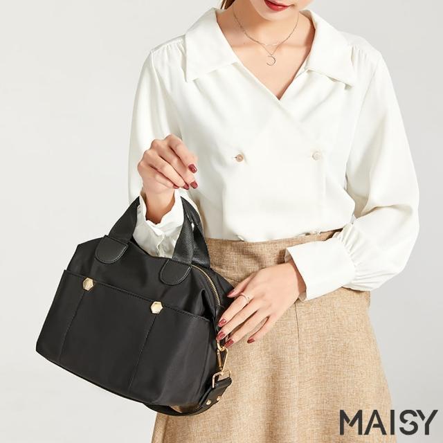 【MAISY】輕盈簡約牛津布手提肩背包(現+預 灰色 / 粉色 / 綠色 / 黑色)