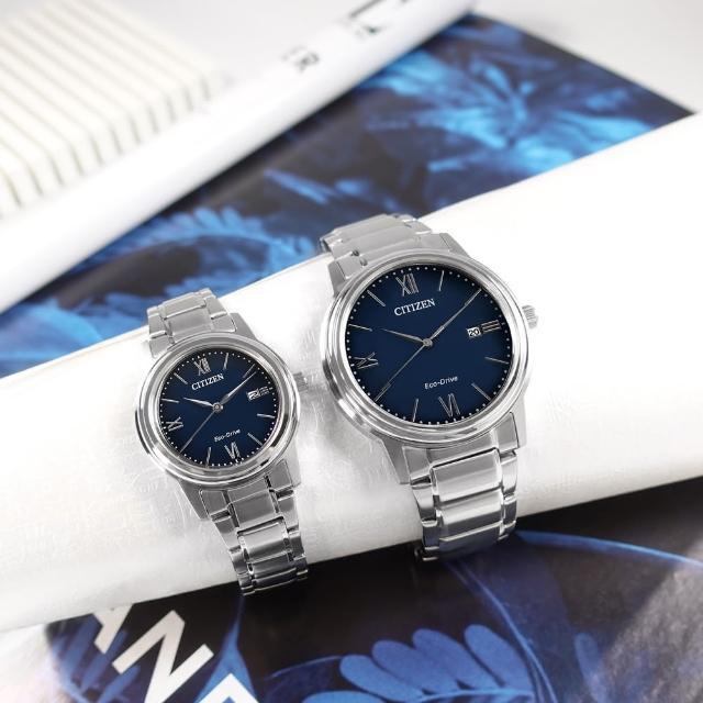 【CITIZEN 星辰】光動能 簡約時尚 日期 不鏽鋼手錶 情人對錶 藍色 41mm+30mm(AW1670-82L.FE1220-89L)