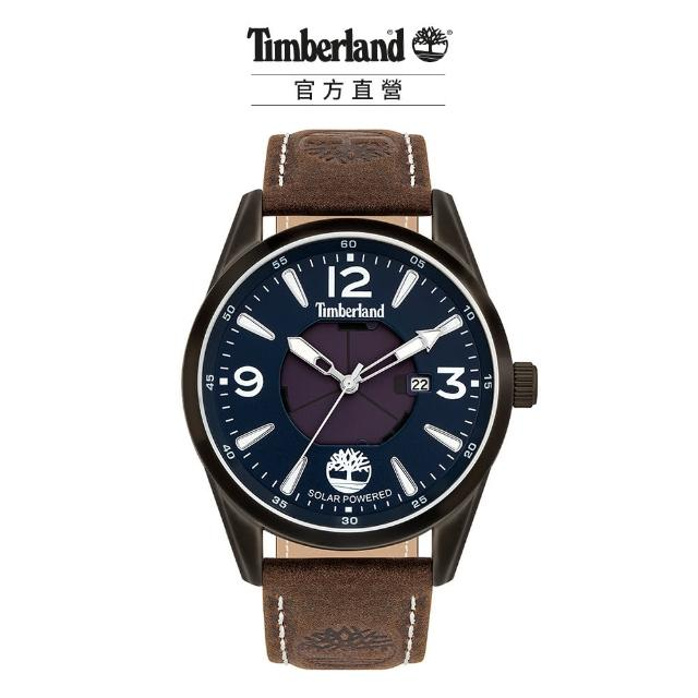 【Timberland】男款 ROCKBRIDGE系列 太陽能戶外腕錶 皮帶-藍/棕43mm(TBL.16004JYU/03)