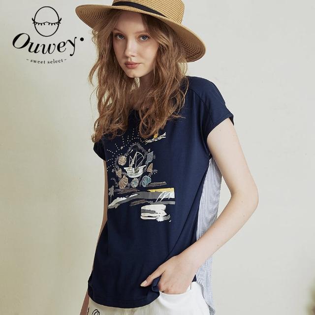 【OUWEY 歐薇】朝夕海洋刺繡印花拼接造型純棉上衣3212161247(深藍)
