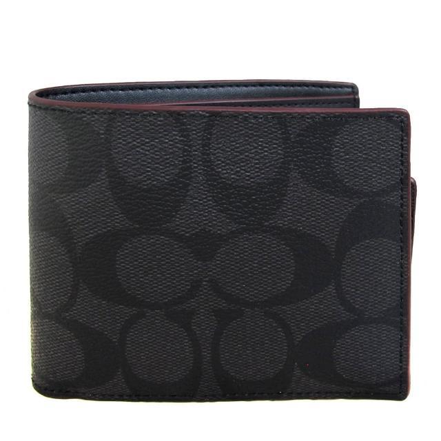 【COACH】男士款 深紅滾邊滿版LOGO PVC八卡短夾(黑灰色、附活動式卡夾)