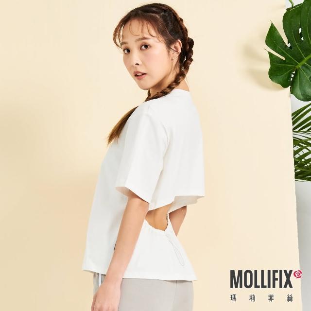 【Mollifix 瑪莉菲絲】後露腰抽繩短袖上衣(白)