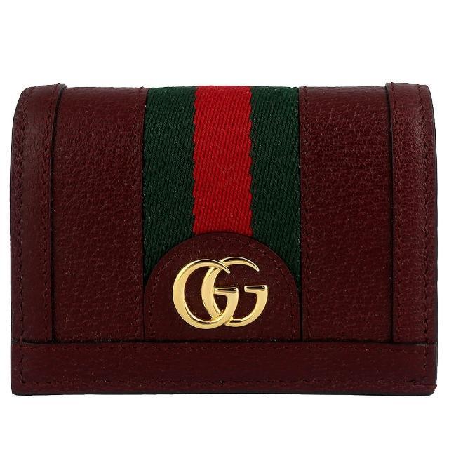 【GUCCI 古馳】雙G標誌真皮經典織帶名片式短夾(咖啡紅色)