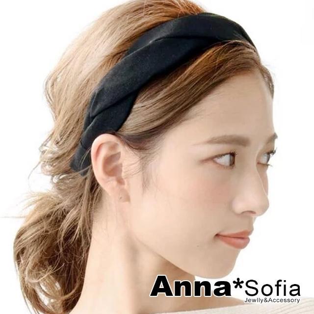 【AnnaSofia】韓式髮箍髮飾-單色波浪交叉編(黑系)