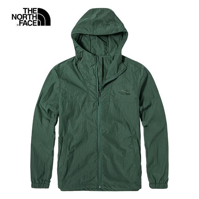 【The North Face】The North Face北面男款綠色防風防潑水可調節下擺連帽外套|5AZKV1T