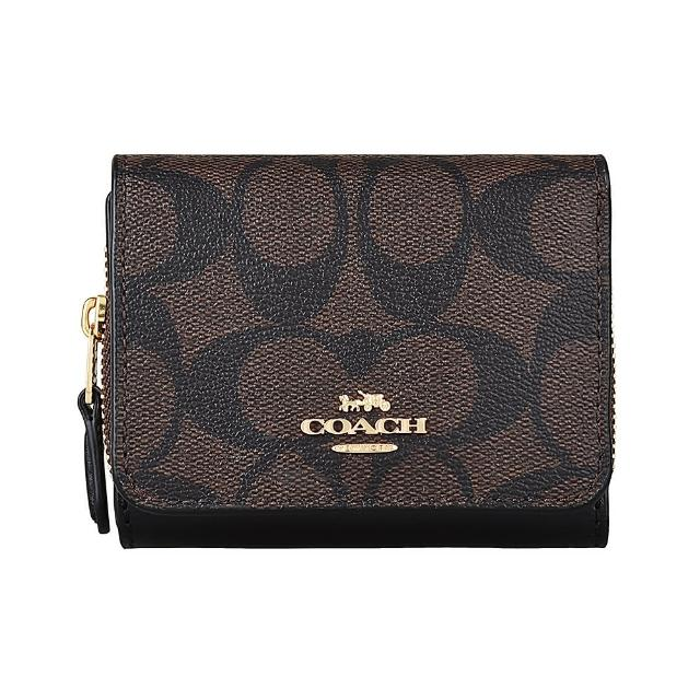 【COACH】COACH 金字LOGO印花PVC牛皮3卡拉鍊扣式短夾(棕褐x黑)