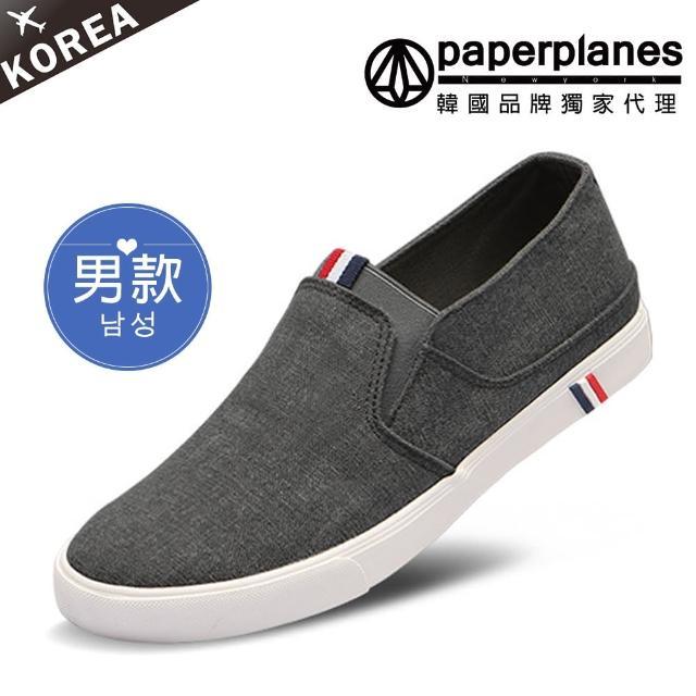 【Paperplanes】韓國空運。男款三色標拼接素面帆布懶人休閒鞋-正常版型(7-191黑/現+預)