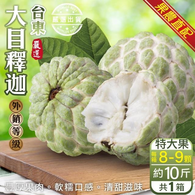 【果農直配x外銷等級】台東大顆大目釋迦 x2箱(原箱8~9入/約10斤)