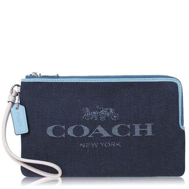 【COACH】撞色 帆布 / 大款 / 雙拉鏈手拿包(牛仔藍)
