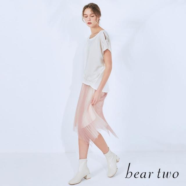【bear two】露肩寬袖圓領上衣(兩色)