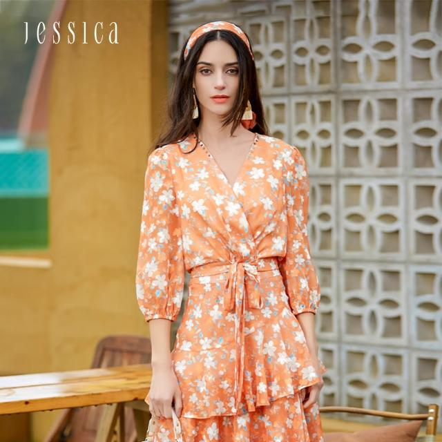【JESSICA】甜美浪漫V領綁帶七分袖小碎花雪紡衫(橘色)