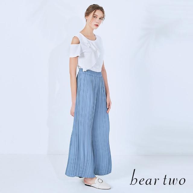 【bear two】質感壓褶造型寬褲(兩色)