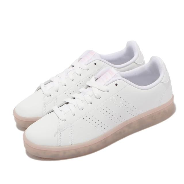 【adidas 愛迪達】休閒鞋 Advantage 運動 女鞋 愛迪達 基本款 環保理念 球鞋 穿搭 白 粉(FY6032)