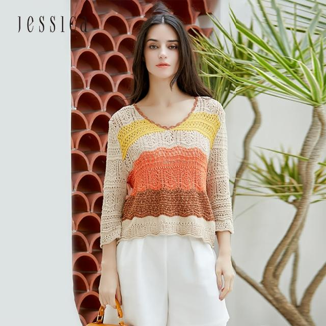 【JESSICA】時尚百搭撞色鏤空V領七分袖針織衫