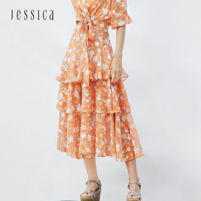 【JESSICA】甜美浪漫荷葉褶皺小碎花雪紡長裙(橘色)