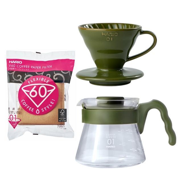 【HARIO】V60藍媚茶01濾杯咖啡組 附濾紙(日本HARIO原裝進口)