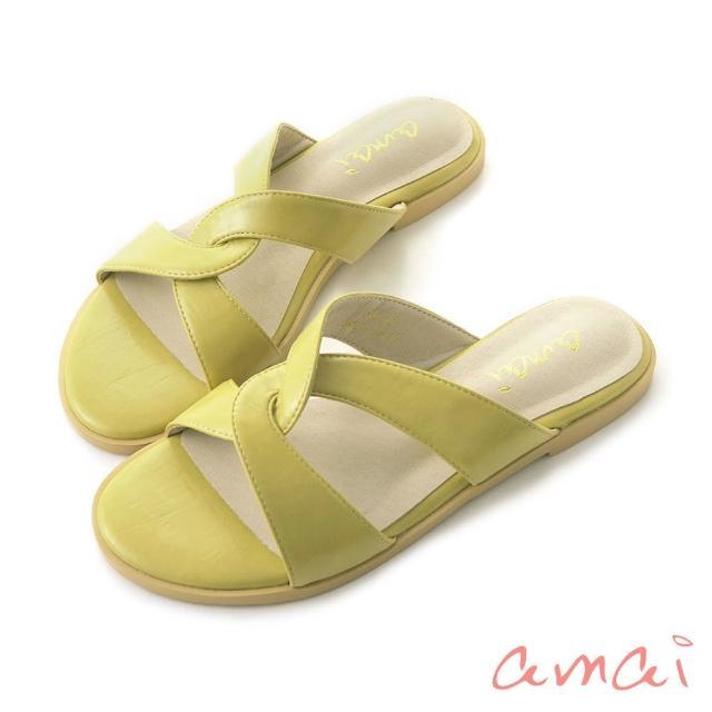 【amai】韓系復古交叉拖鞋(芥黃)