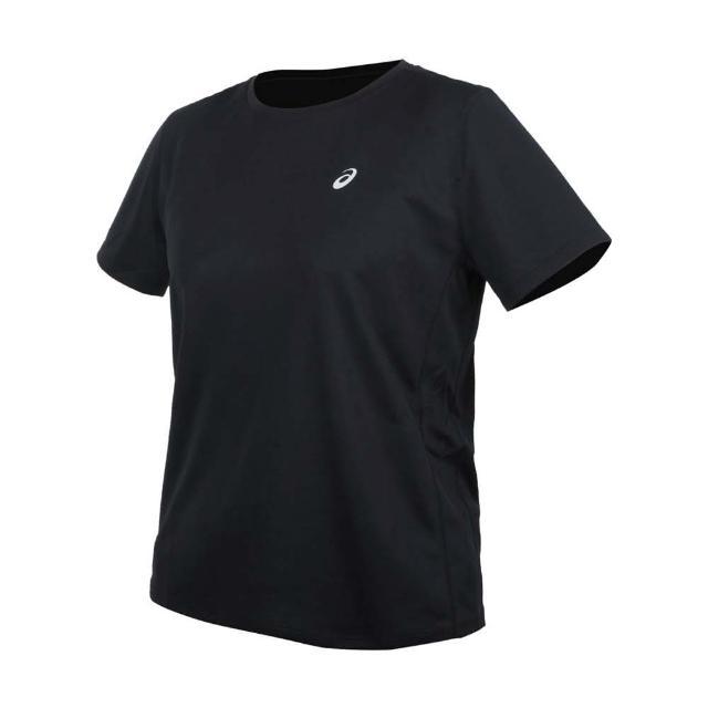 【asics 亞瑟士】女片假名短袖T恤-吸濕排汗 運動 上衣 慢跑 反光 亞瑟士 黑銀(2012A827-001)