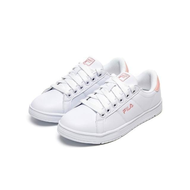【FILA】女鞋 休閒鞋 女綁帶板鞋運動鞋-白/粉(5-C617V-115)