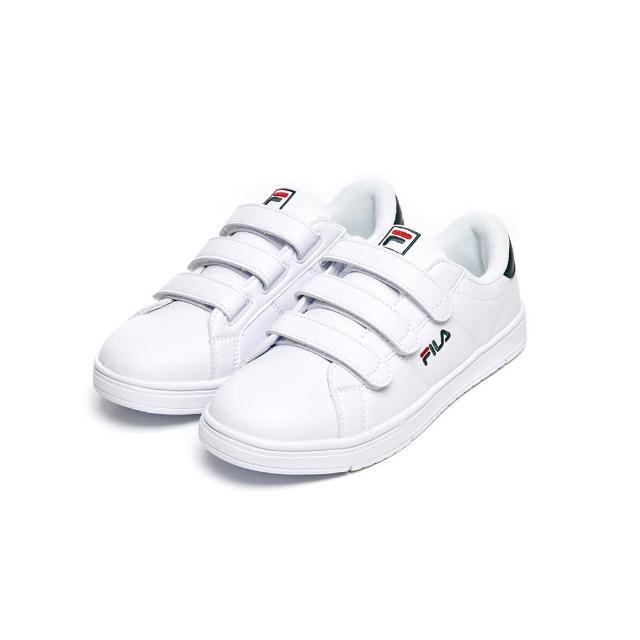 【FILA】男女鞋 休閒鞋 中性魔鬼氈板鞋運動鞋-白/綠(4-C618V-106)