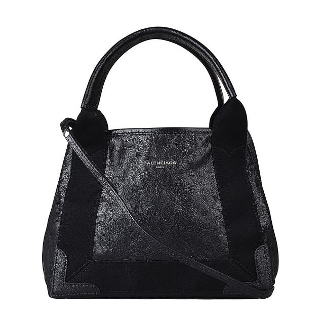 【Balenciaga 巴黎世家】BALENCIAGA巴黎世家CABAS XS燙銀LOGO經典抓皺設計小羊皮手提斜背包(黑)