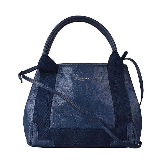 【Balenciaga 巴黎世家】BALENCIAGA巴黎世家CABAS XS燙銀LOGO經典抓皺設計小羊皮手提斜背包(海軍藍)