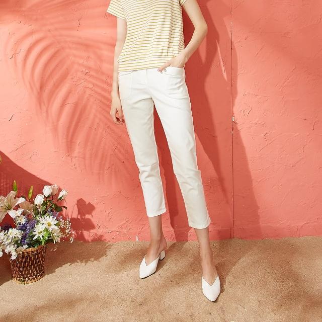 【CUMAR】休閒鬆緊帶口袋設計-七分長褲(二色/版型適中)