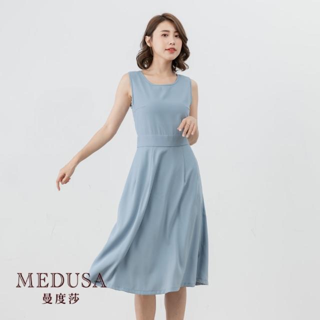 【MEDUSA 曼度莎】經典素面無袖收腰洋裝(M-2L)|上班族穿搭 職場穿搭|小洋裝 正式洋裝(601-31416)