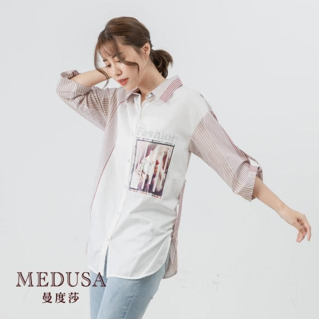 【MEDUSA 曼度莎】不規則條紋拼接純棉襯衫(M-2L)|上班族穿搭 職場穿搭(605-16901)