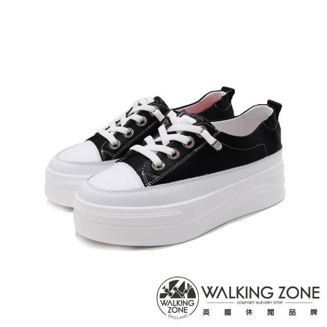 【WALKING ZONE】女 小鑽飾車白線增高厚底休閒 女鞋(黑)