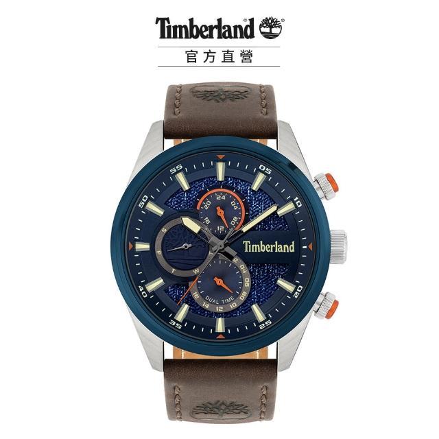 【Timberland】男款 RIDGEVIEW系列 戶外多功能腕錶 皮帶-藍/深棕46mm(TBL.15953JSTBL/03)