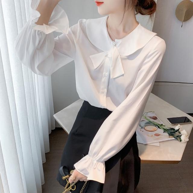 【白色戀人】復古氣質柔雅白色喇叭長袖襯衫S-2XL