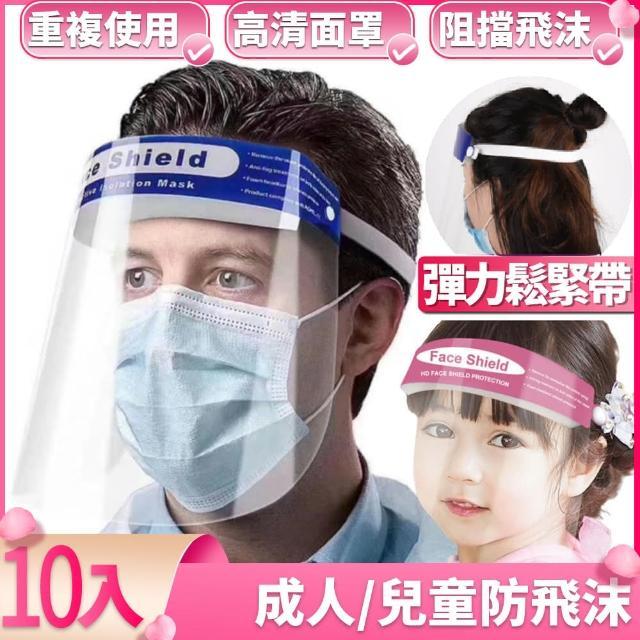 【I.Dear】成人兒童皆可防飛沫噴濺防霧專用頭戴式防護面罩檔板(超值十入組/防疫面罩)