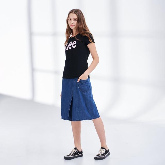 【Lee】薄款鬆緊 側口袋 女牛仔寬褲裙