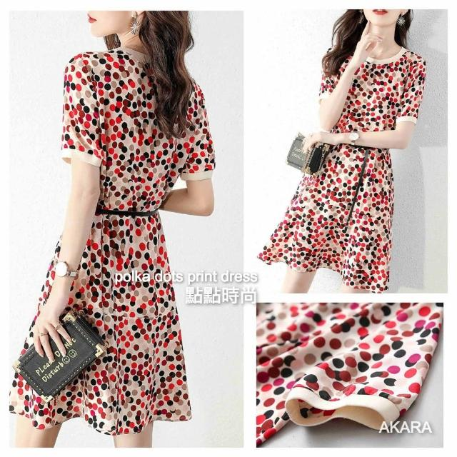 【AKARA】點點綴花時尚連身裙洋裝