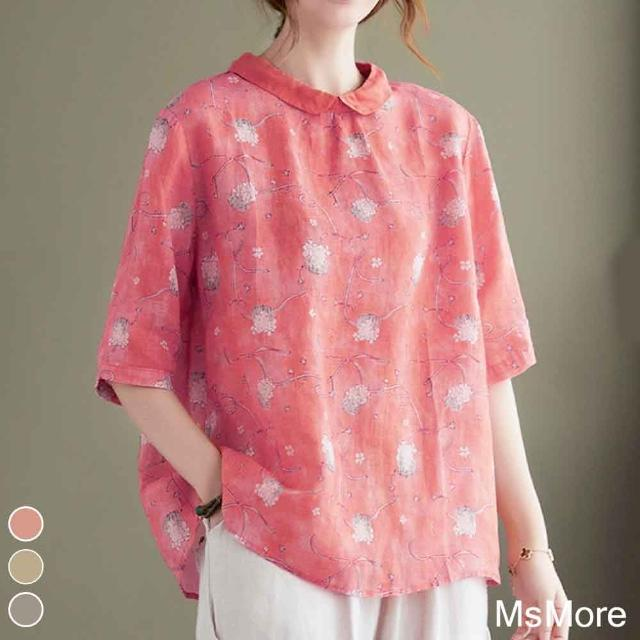 【ACheter】東方領氣質棉麻印花寬鬆上衣#109969現貨+預購(3色)