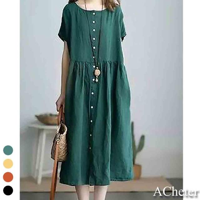 【ACheter】韓風氧氣大碼舒適棉麻全開襟洋裝#109968現貨+預購(4色)