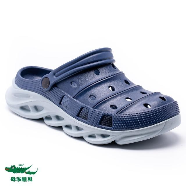 【母子鱷魚】撞色水陸刀鋒布希鞋-藍