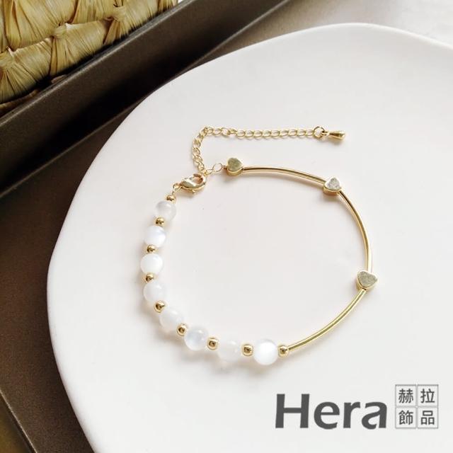【HERA 赫拉】簡約唯美不對稱圓珠手鍊手鐲 H11007166(浪漫清新)