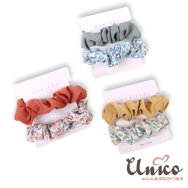 【UNICO】春夏款素色搭小碎花大腸圈/髮圈-6入組(髮飾/配件/春夏款/小碎花)