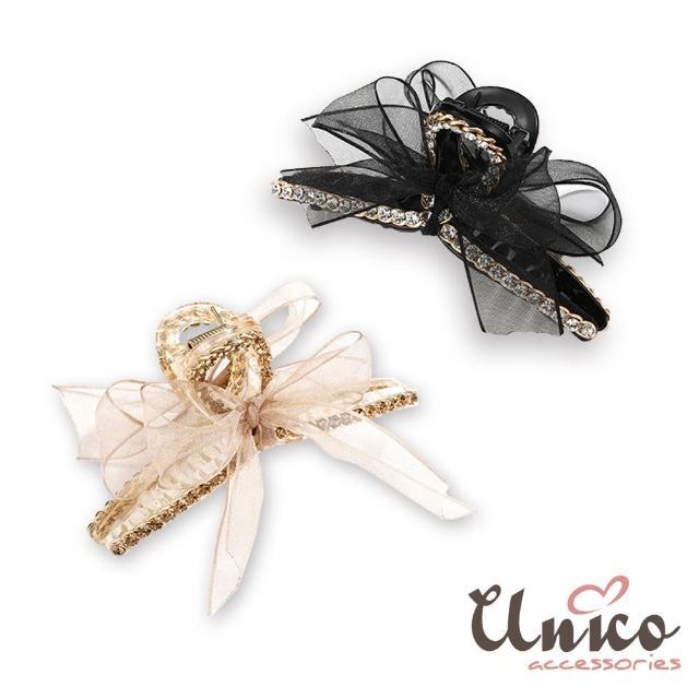 【UNICO】韓國質感系網紗蝴蝶結髮夾/鯊魚夾(飾品/配件/蝴蝶結)